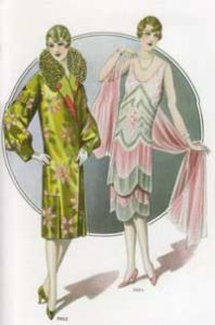 1920's fashion. Ruth Wade. Two flappers, evening coat and dress