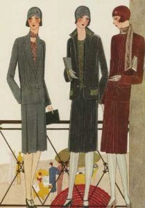 1920's fashion. Ruth Wade. Black and rust and grey dresses on promenade