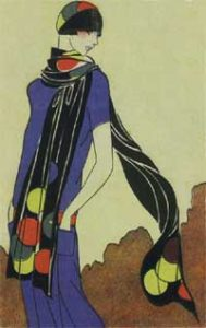 1920's fashion. Ruth Wade. Blue Dress Clarice Cliff scarf