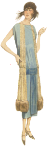 1920's fashion. Ruth Wade. Blue flapper dress.