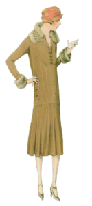 1920's fashion. Ruth Wade. Ochre dress with fur trim, red hat