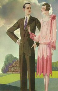 1920's fashion. Ruth Wade. Couple in front of stately home