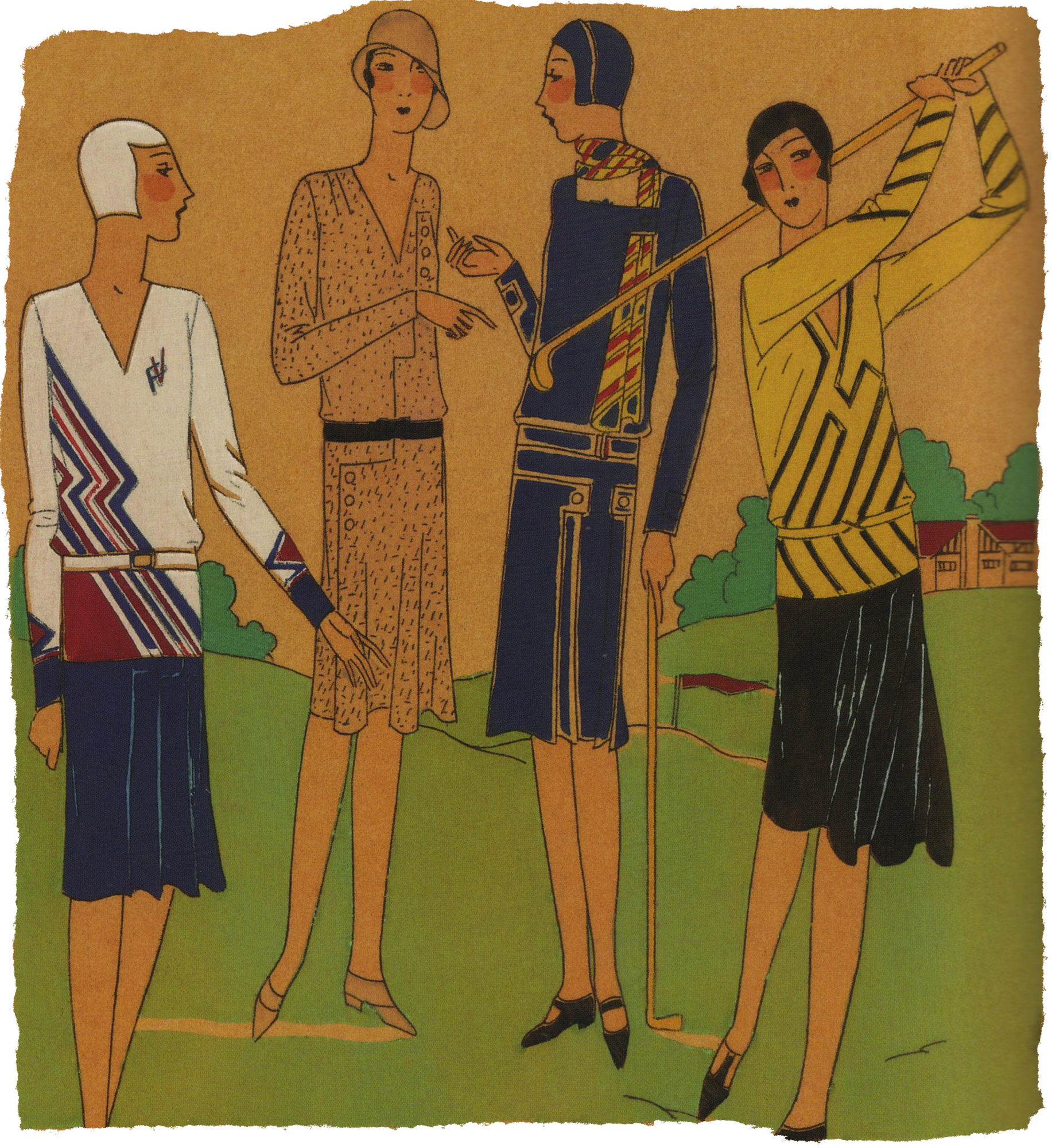 Fashion for 1920's female golfers. Research Ruth Wade