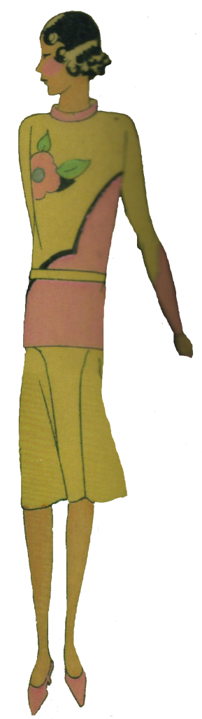 1920's sporting woman. Pink and mustard jazzy top and skirt.