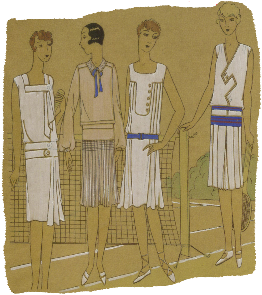 1920's fashionably dressed female tennis players. Research Ruth Wade