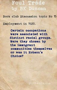Foul Trade book club discussion topics: 15 employment in 1920