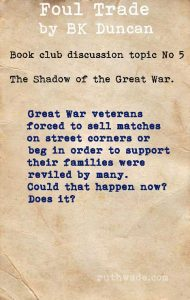 Foul Trade book club discussion topics: 5 in the shadow of the Great War
