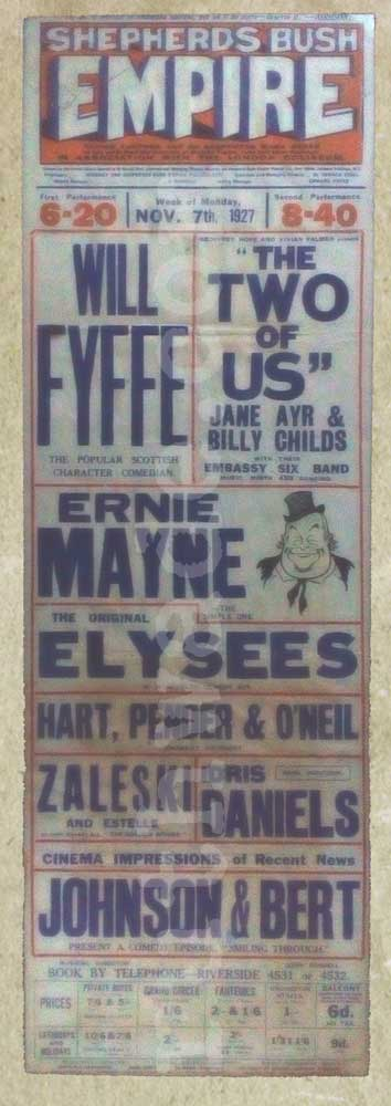 Shepherds Bush Empire Variety Theatre playbill 1927