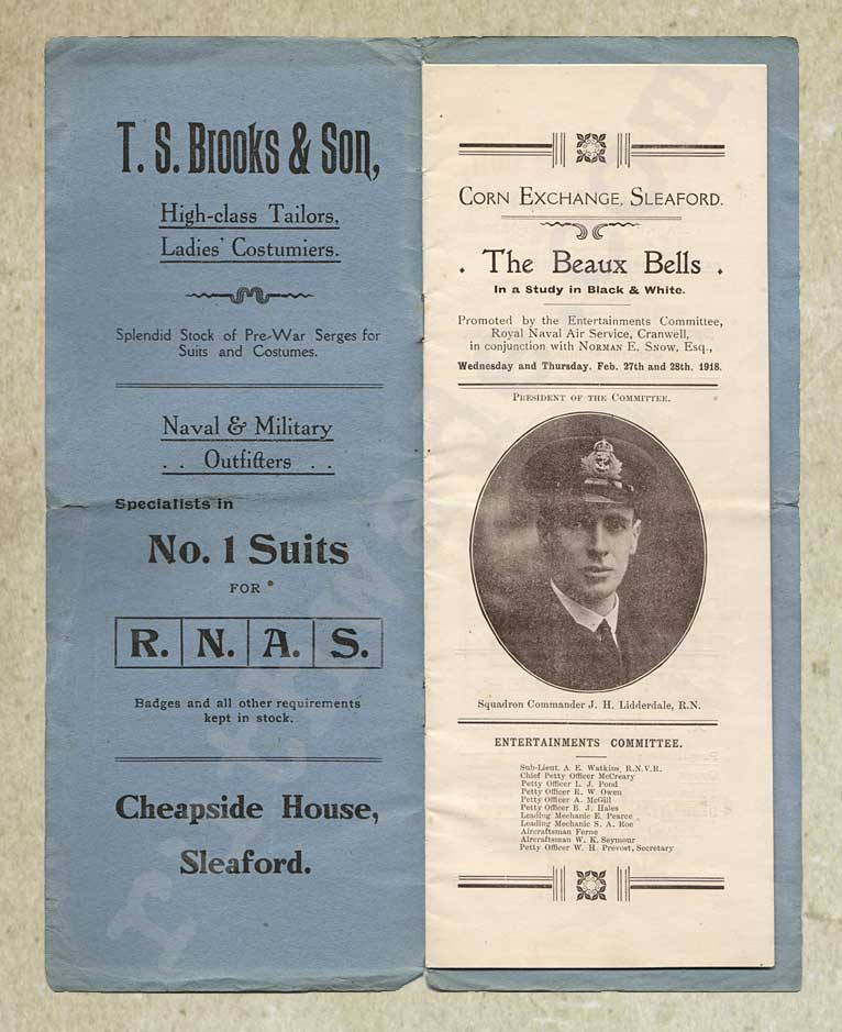 1918 programme for variety show for St Dunstan's page 1
