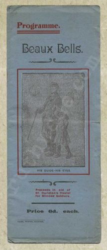 1918 programme for variety show for St Dunstan's front cover