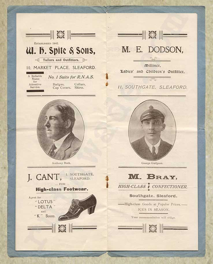 1918 programme for variety show for St Dunstan's page 4