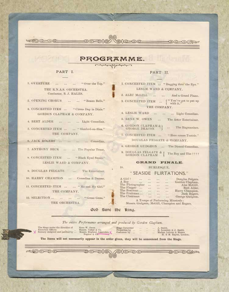 1918 programme for variety show for St Dunstan's page 5