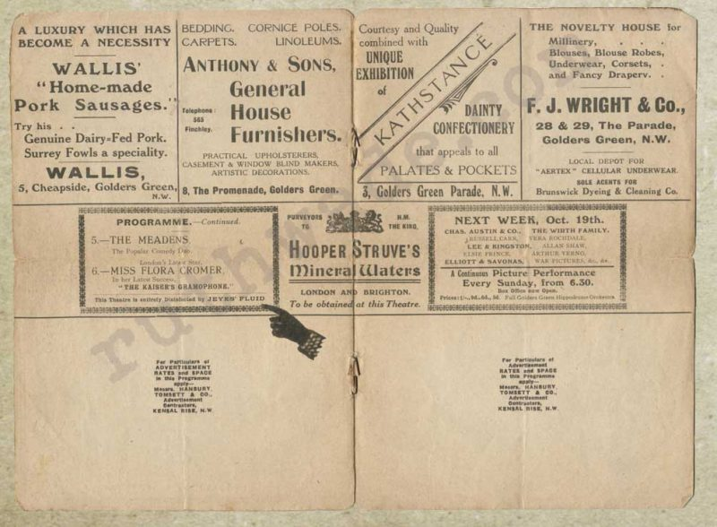 Golders Green Hippodrome variety programme 1914 pages 4 & 5