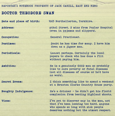 Foul Trade by BK Duncan. Character dossier: Dr Swan